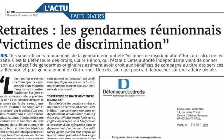 Retraite : les gendarmes réunionnais reconnus victimes de discrimination